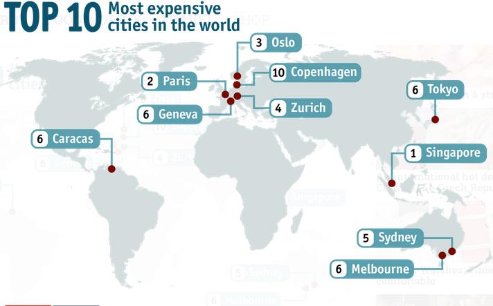 Carte des villes les plus chères - Nomad Junkies